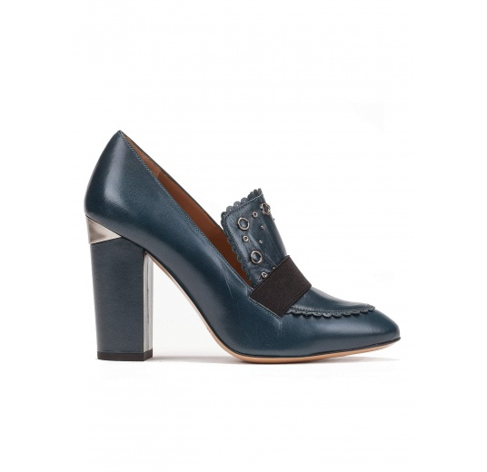 High block heel loafers in petrol blue leather Pura L�pez