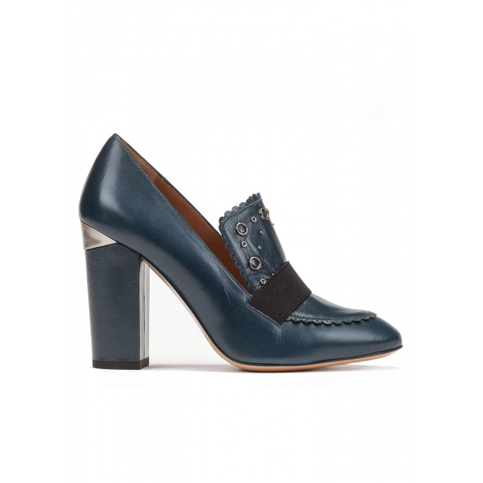 High block heel loafers in petrol blue leather