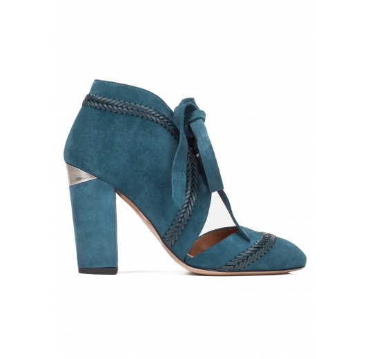 Lace-up high block heel shoes in petrol blue suede Pura López