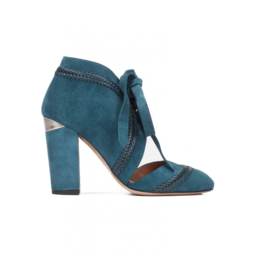 Lace-up high block heel shoes in petrol blue suede