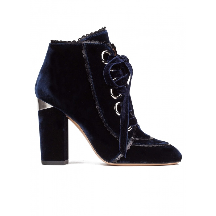 Lace-up high block heel ankle boots in night blue velvet