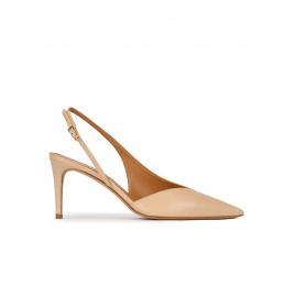 Mid heel slingback pumps in beige leather Pura López