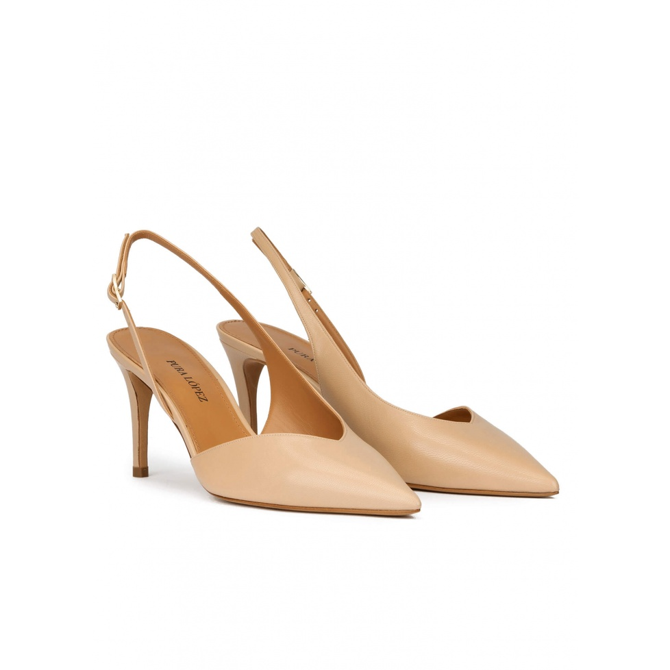 Mid heel slingback pumps in beige leather