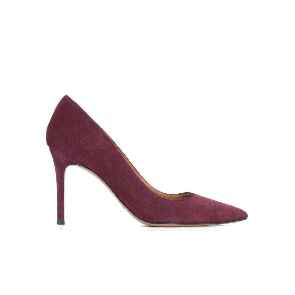 Aubergine suede classic heel pumps