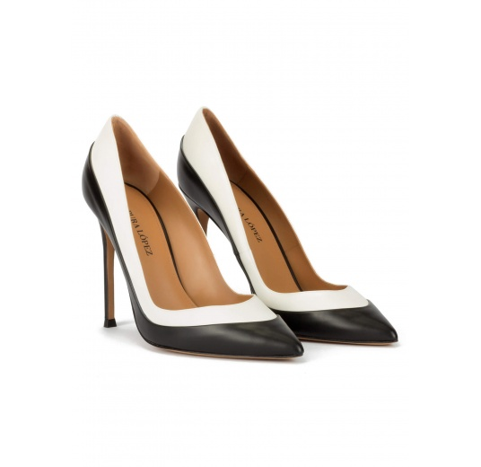 Two-tone high heel pumps in black and white leather Pura L�pez