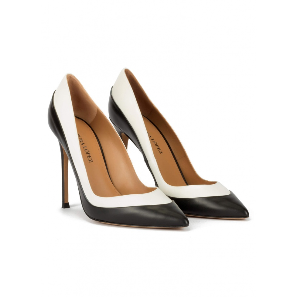 Two-tone high heel pumps in black and white leather