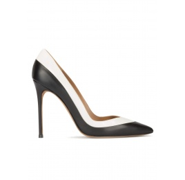 Two-tone high heel pumps in black and white leather Pura López