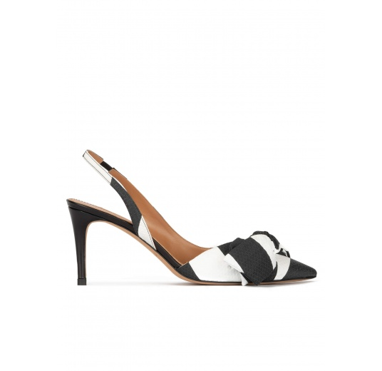 Bow detailed slingback pumps in black and white fabric Pura López