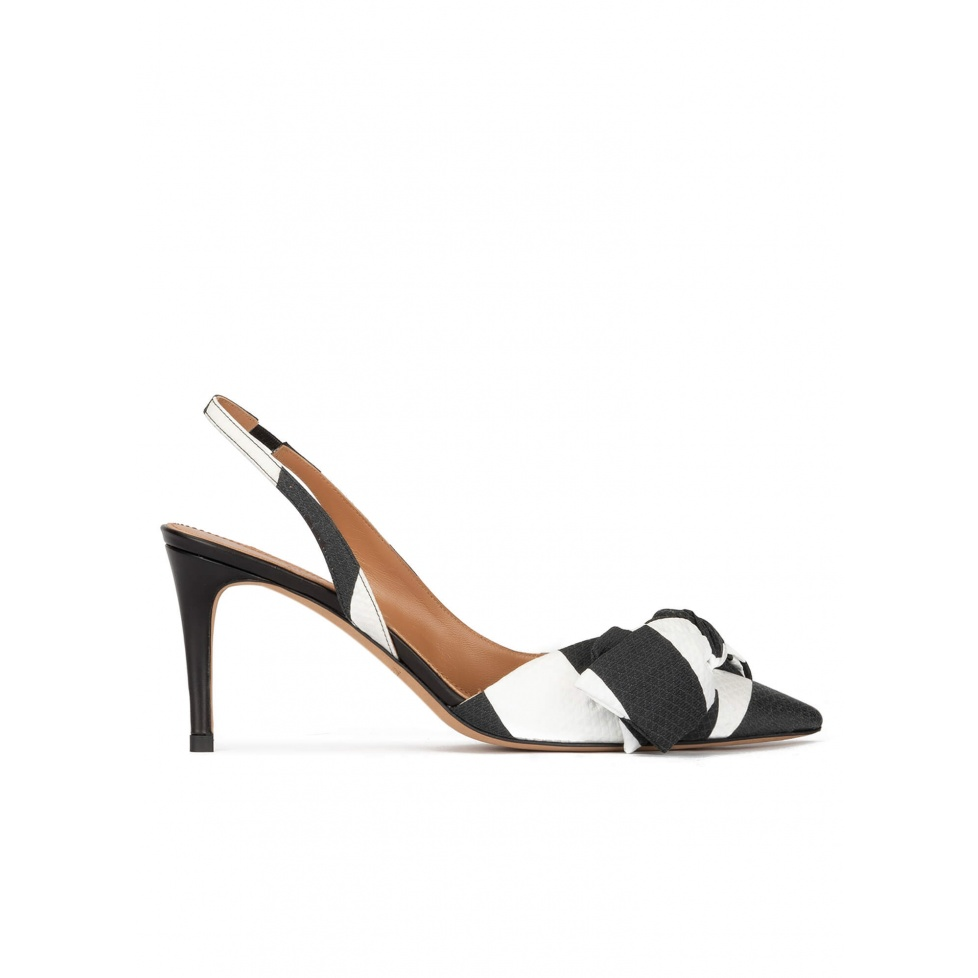 Bow detailed slingback pumps in black and white fabric