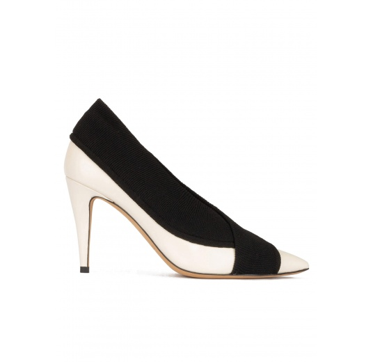 Off-white high heel point-toe shoes in leather with black fabric Pura L�pez
