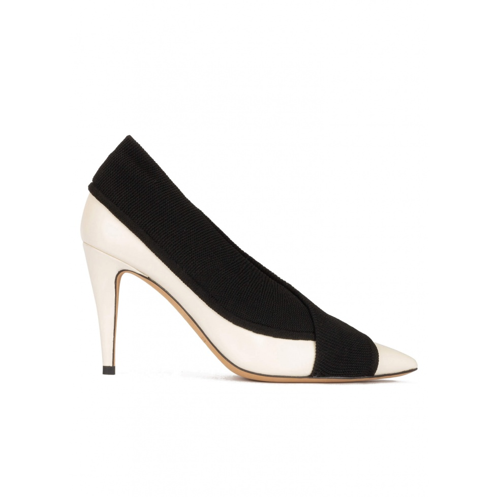 Off-white high heel point-toe shoes in with black fabric