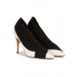 Off-white high heel point-toe shoes in leather with black fabric Pura López