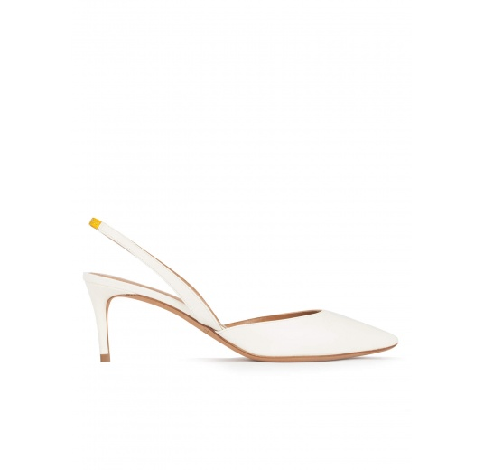 Mid-heel pointed toe slingback shoes in offwhite leather Pura L�pez