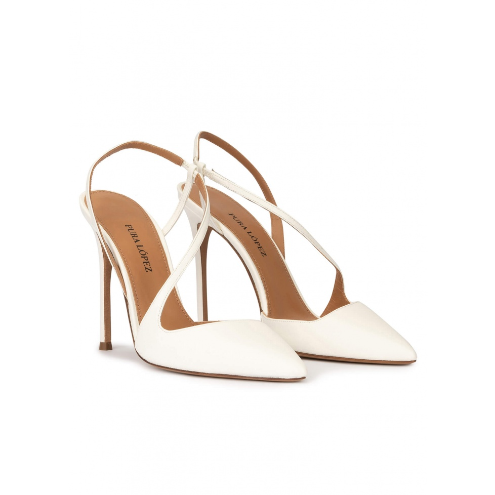 High heel pointed toe slingback pumps in off-white leather