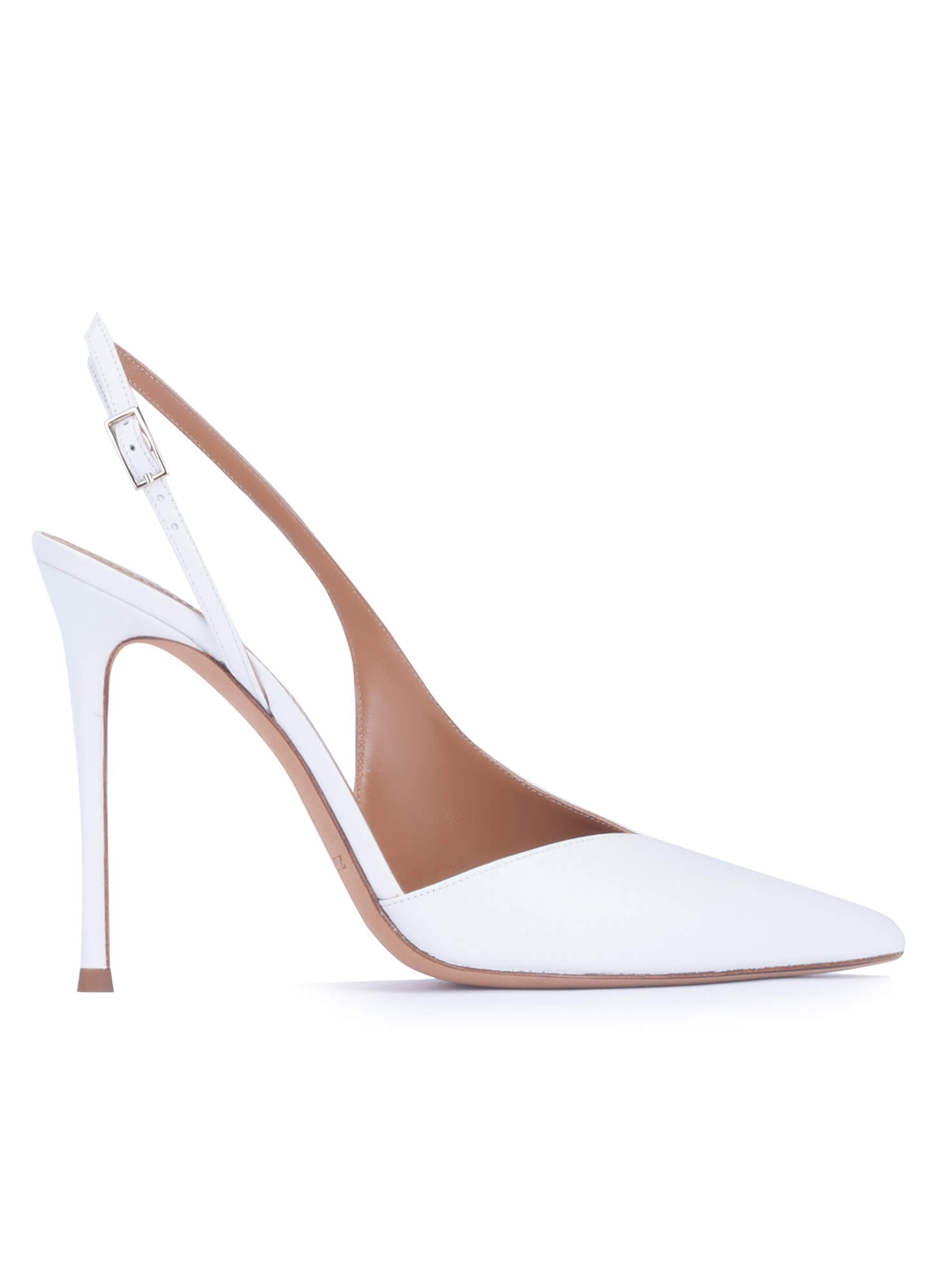 bf75241a7e Asymmetric heeled slingback pumps in white calf leather . PURA LOPEZ