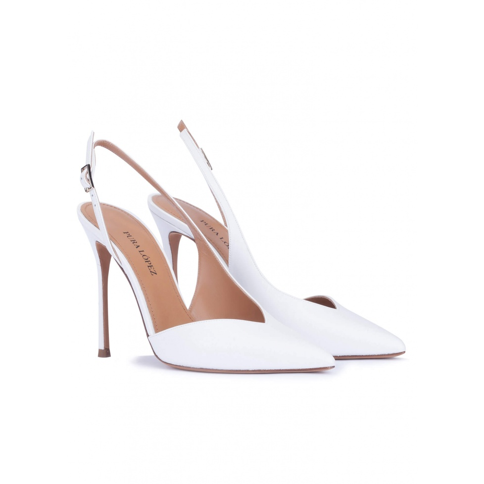Asymmetric heeled slingback pumps in white calf leather