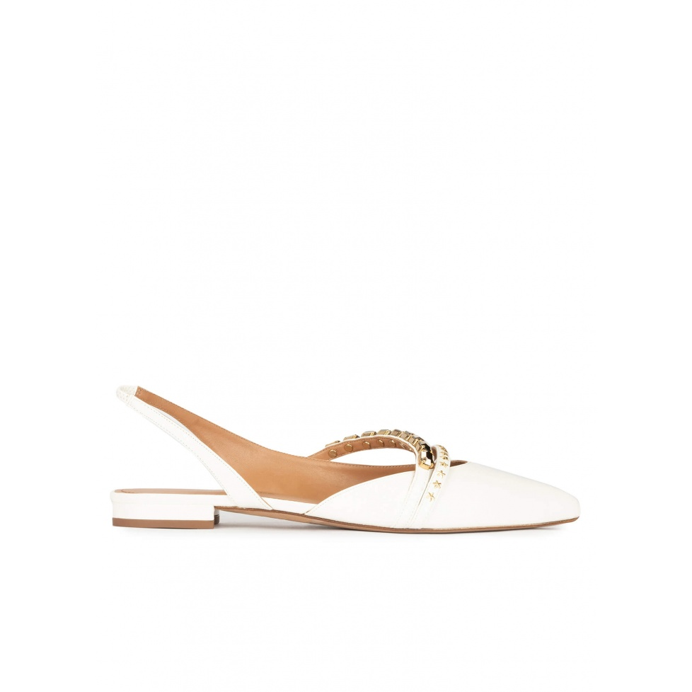 Slingback point-toe flats in off-white leather