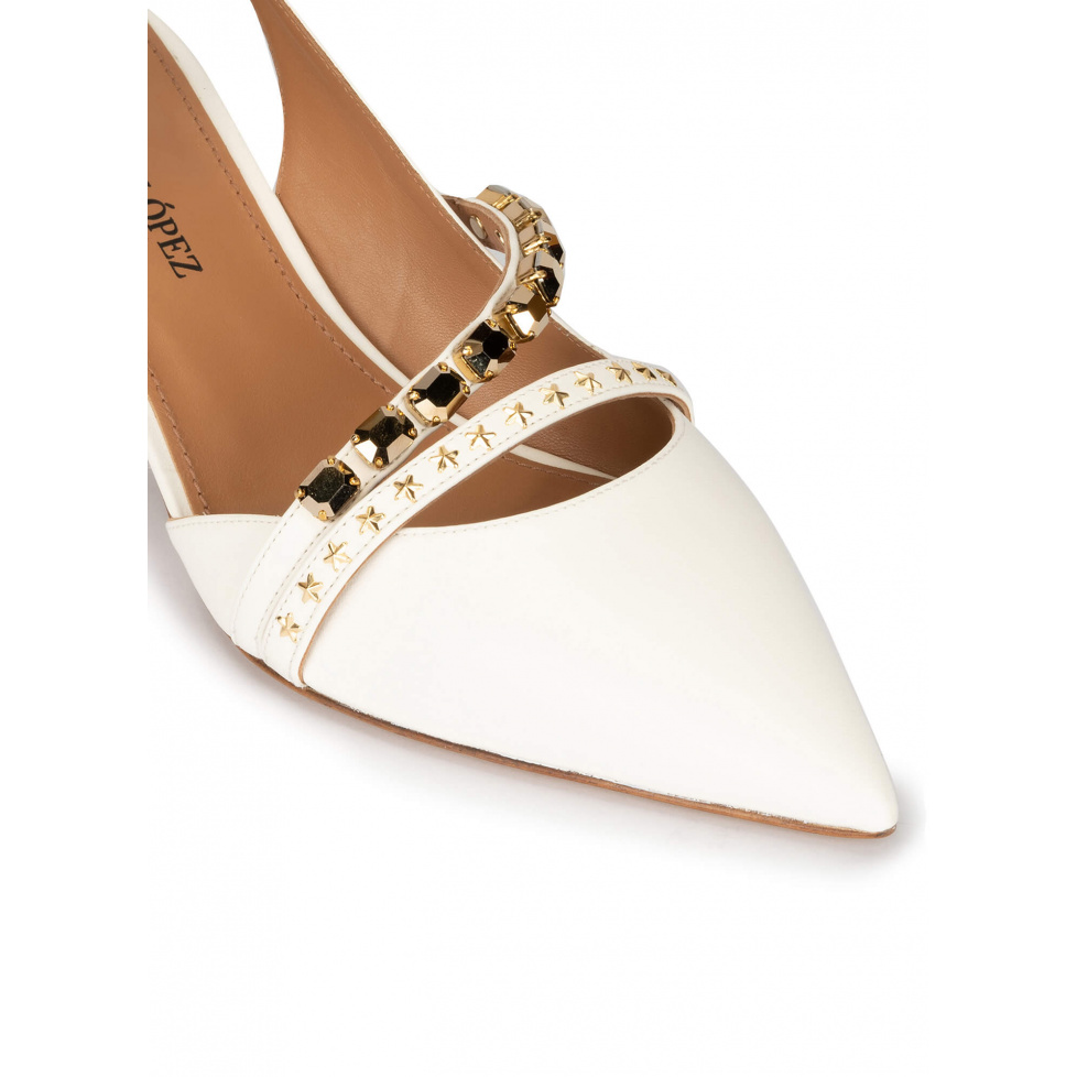 Slingback mid heel point-toe pumps in off-white leather