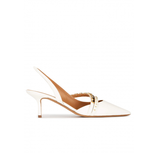 Slingback mid heel point-toe pumps in off-white leather Pura López