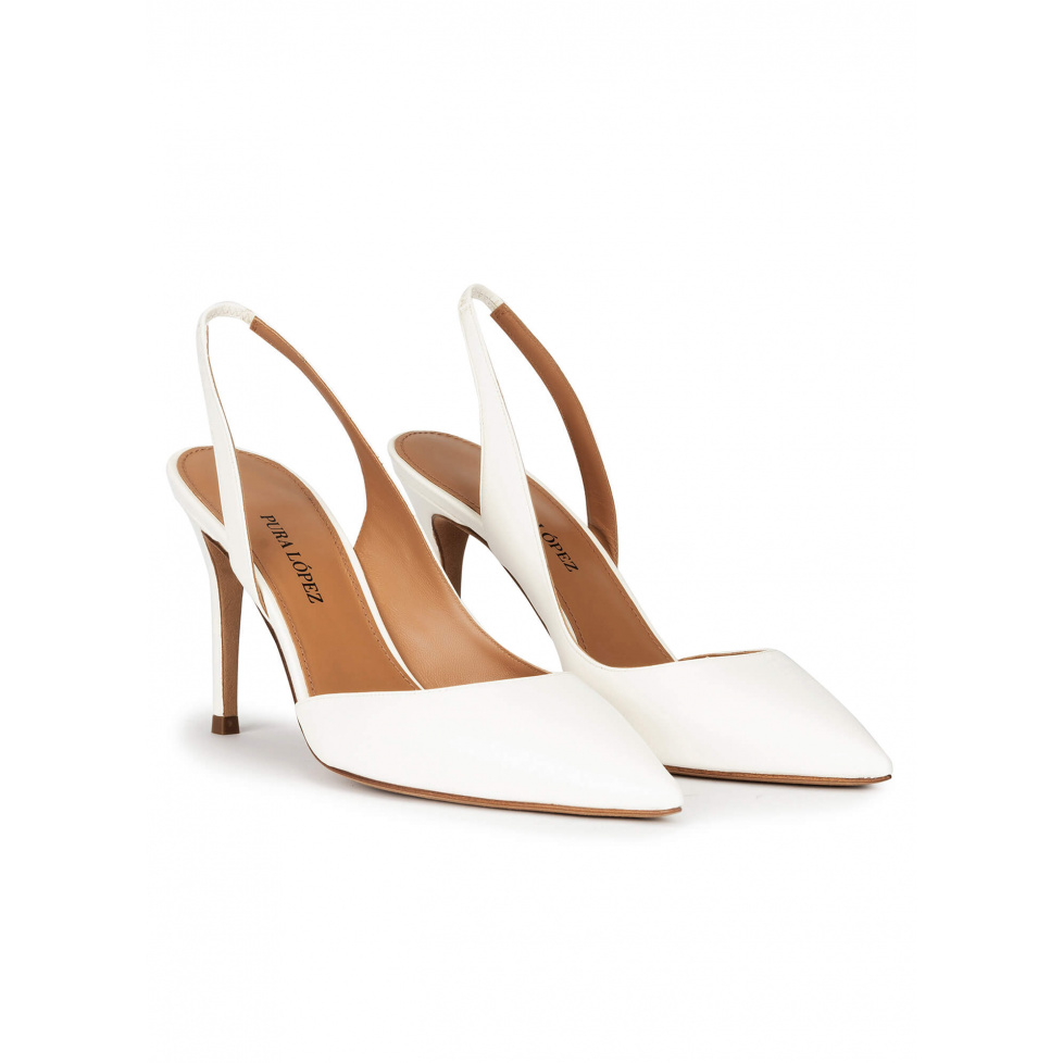 Slingback heeled pumps in off-white leather