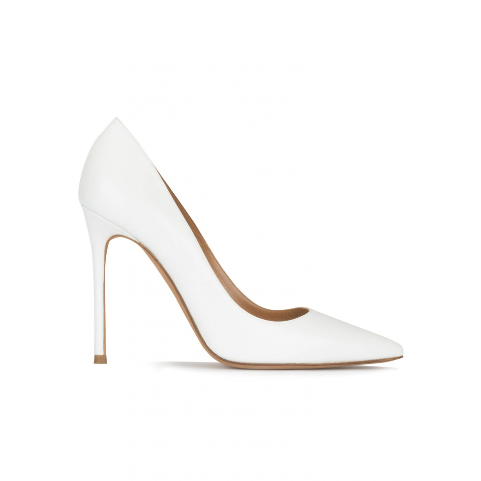White leather high heel pointy toe pumps