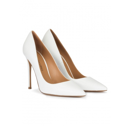 White leather high heel pointy toe pumps Pura L�pez