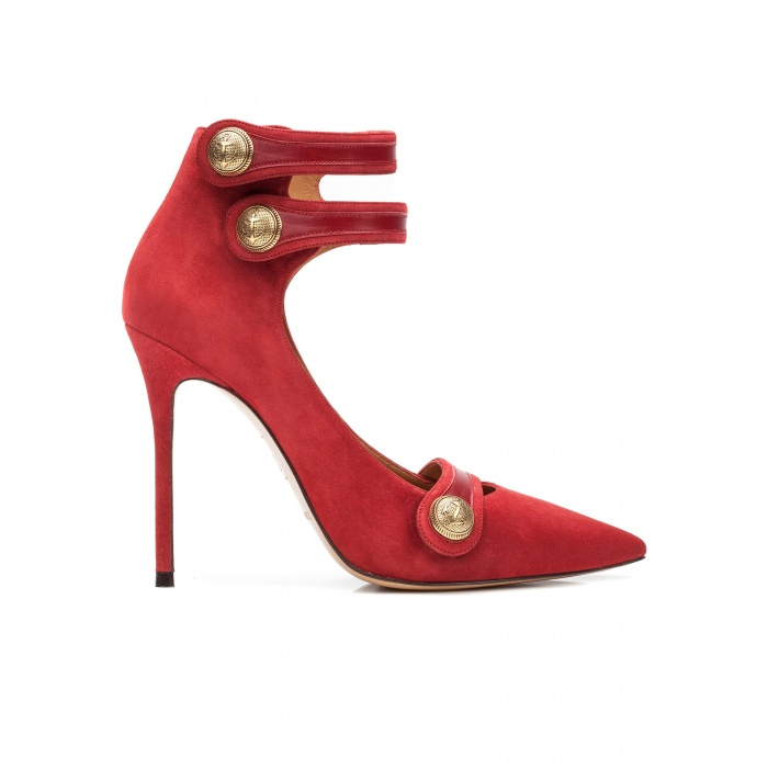 Button detailed high heel shoes in cherry suede