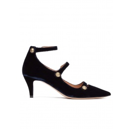 Button detailed ankle strap mid heel shoes in night blue velvet Pura López