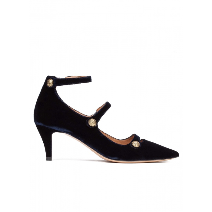 Button detailed ankle strap mid heel shoes in night blue velvet