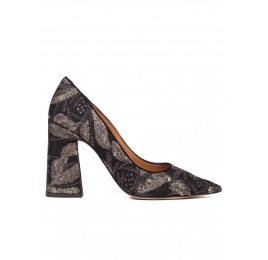 High block heel pumps in black embroidedered sequined tulle Pura López