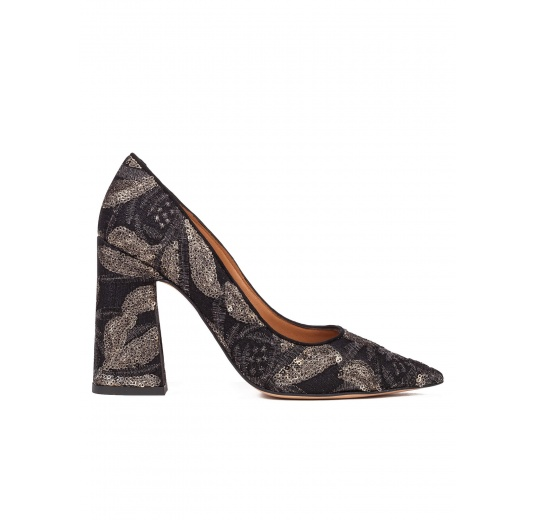 High block heel pumps in black embroidedered sequined tulle Pura L�pez