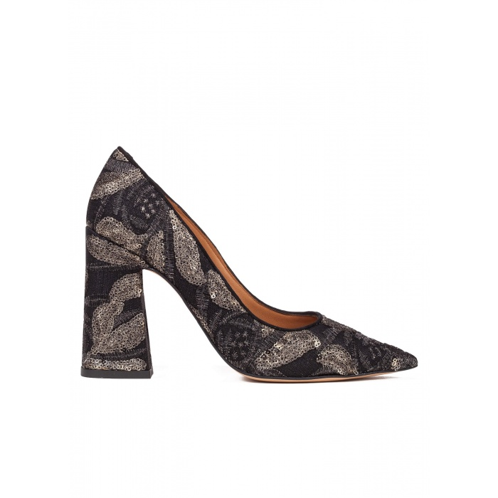 High block heel pumps in black embroidedered sequined tulle