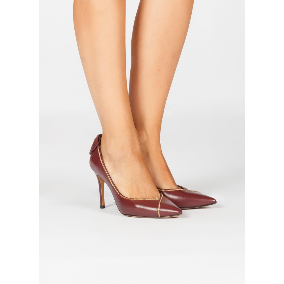 Burgundy bow heeled pumps - online shoe store Pura Lopez