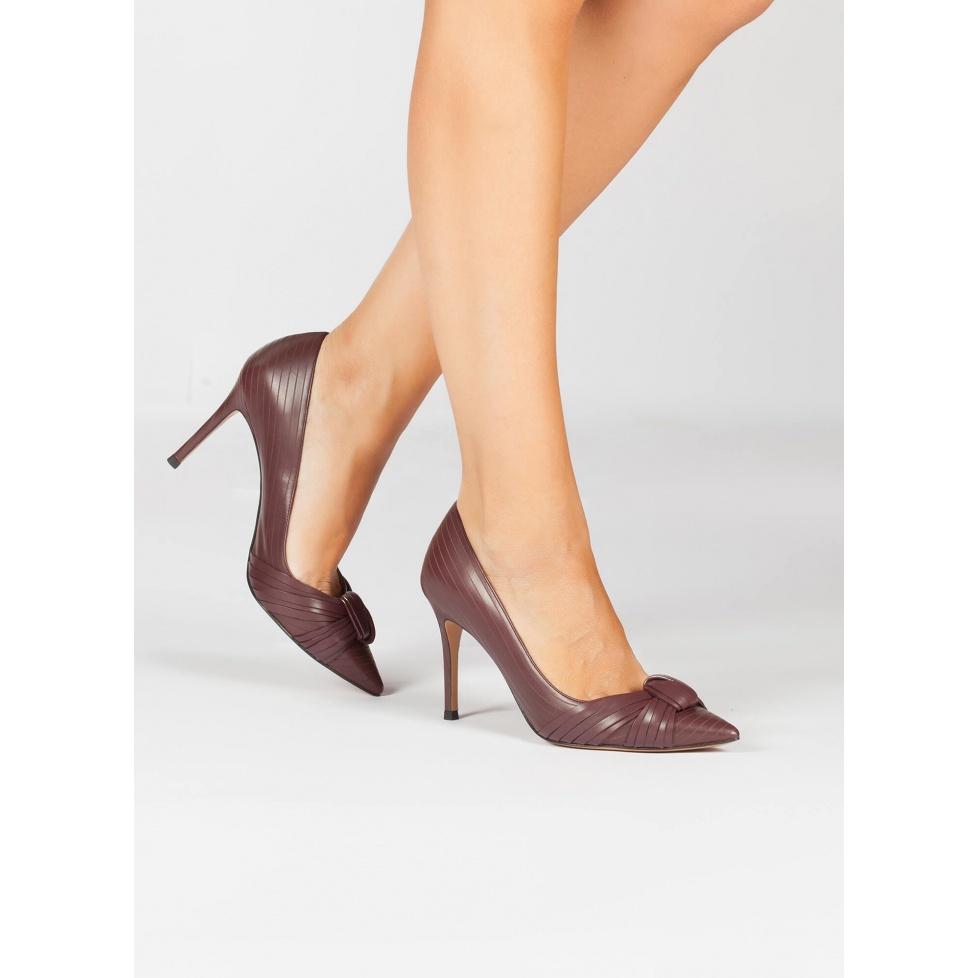 Zapatos de piel burdeos - tienda de zapatos Pura López