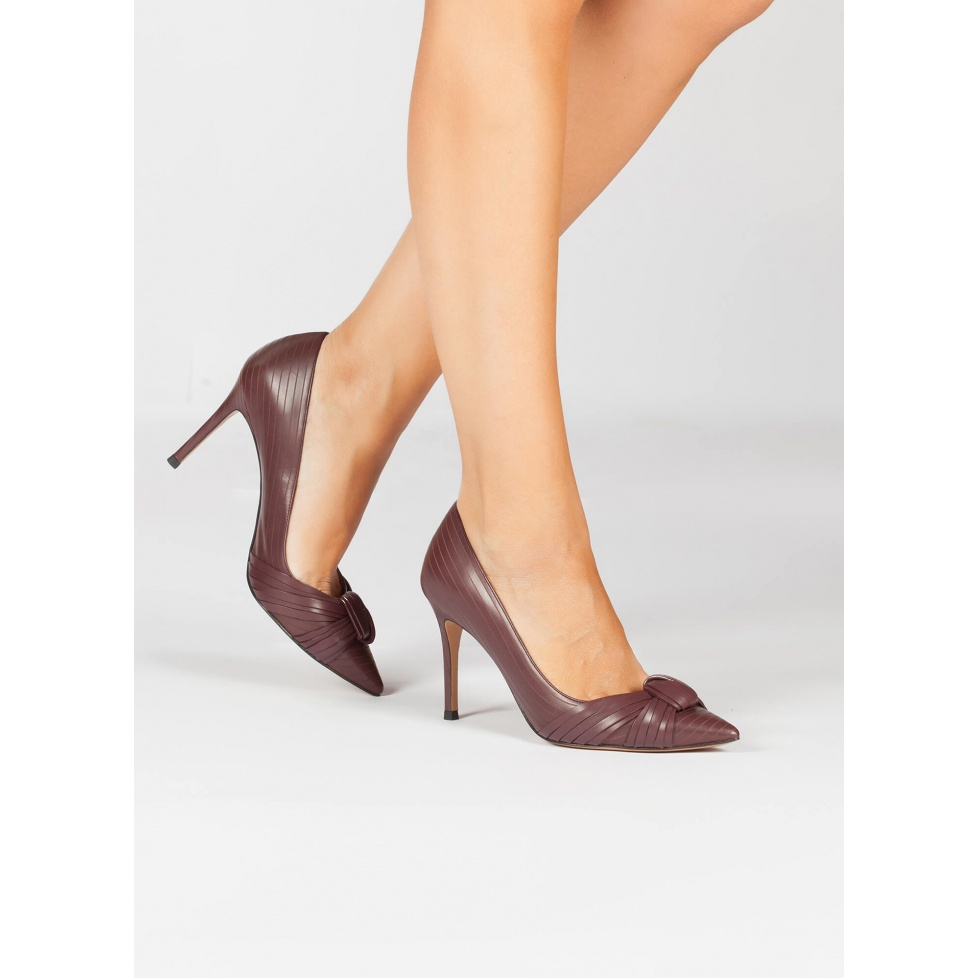 Burgundy knot high heel pumps - online shoe store Pura Lopez