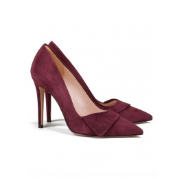 High heel pumps in burgundy suede Pura López