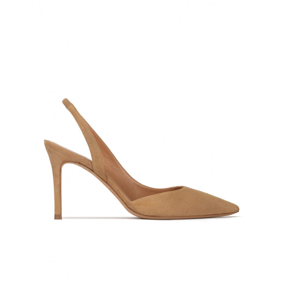 Slingback pointy toe stiletto heel pumps in camel suede