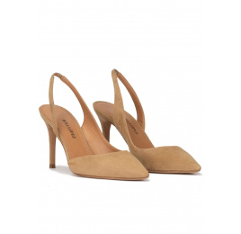 Slingback pointy toe stiletto heel pumps in camel suede Pura López