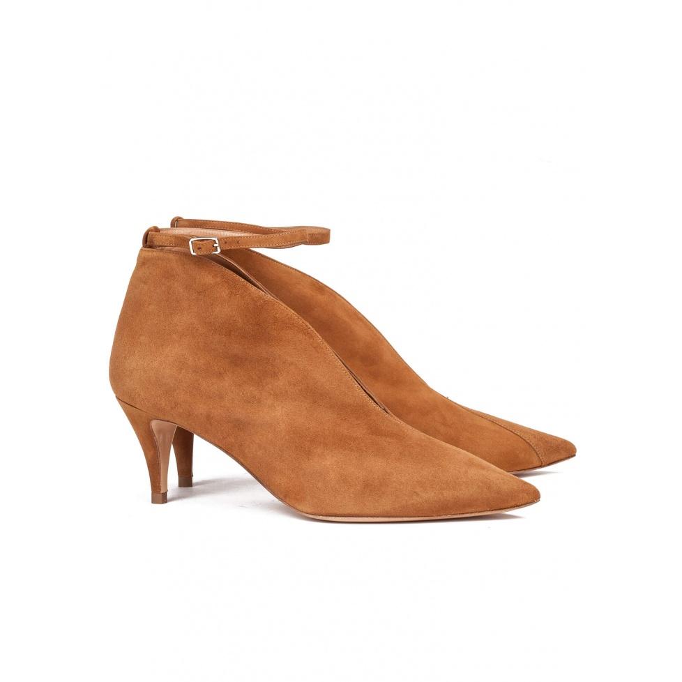 Chestnut ankle strap mid heel pumps - online shoe store Pura Lopez