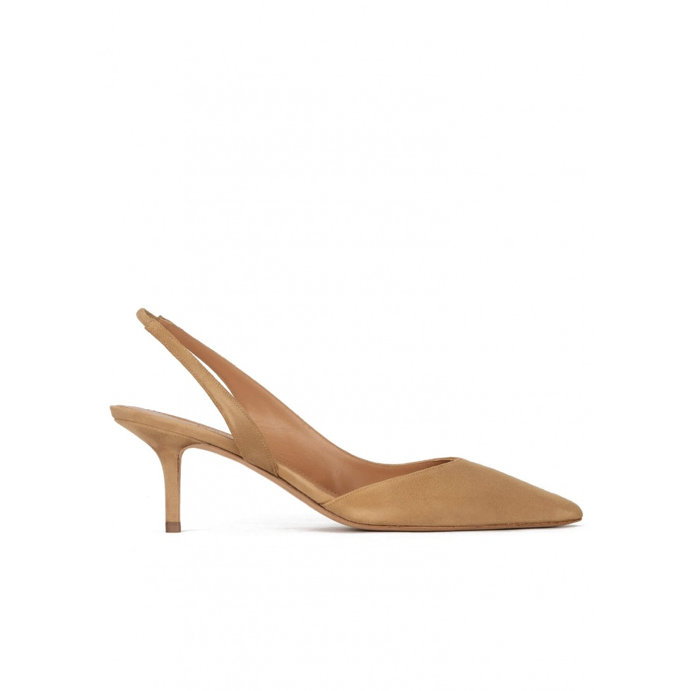 Slingback mid heel pumps in camel suede