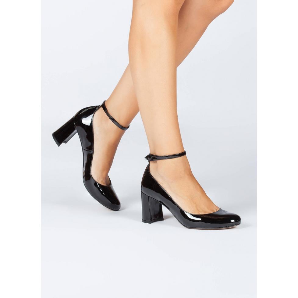 Mid heel shoes in black patent - online shoe store Pura Lopez
