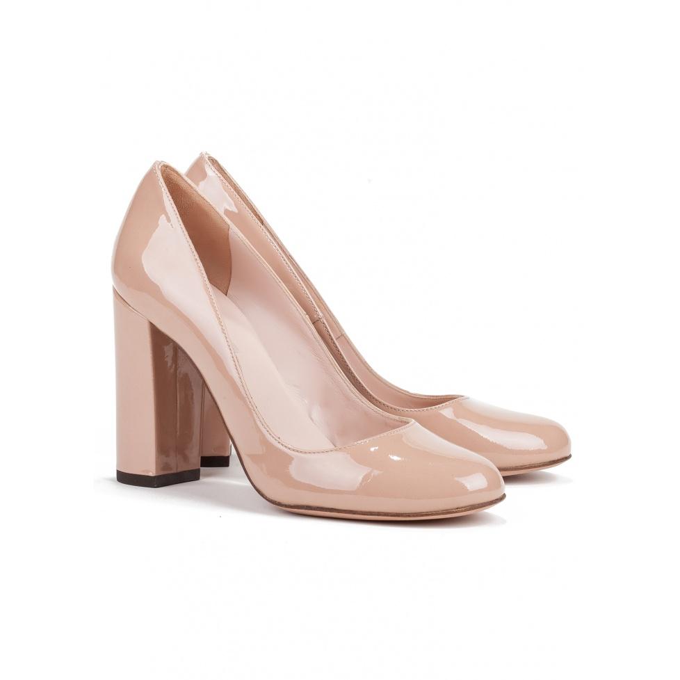 Block high heel pumps in nude patent - online shoe store Pura Lopez