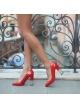 Red high block heel shoes - online shoe store Pura Lopez