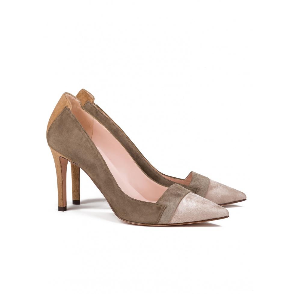 High heel pumps in multicolored suede -online shoe store Pura Lopez