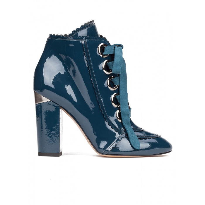 Lace-up high block heel ankle boots in petrol blue patent leather