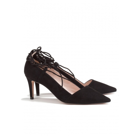 Lace up mid heel pumps in black suede Pura L�pez