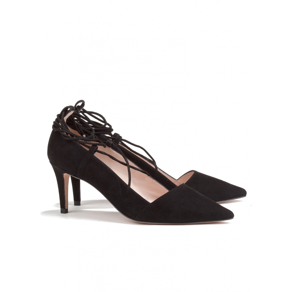 Lace up mid heel pumps in black suede -online shoe store Pura Lopez