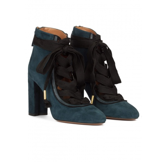 Petrol blue suede lace-up high block heel shoes Pura L�pez
