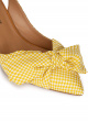 Bow detailed mid heel pumps in yellow and white fabric
