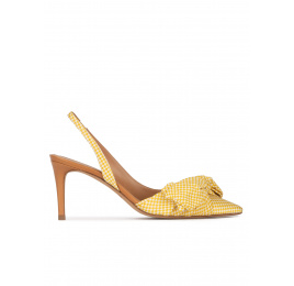 Bow detailed mid heel pumps in yellow and white checked fabric Pura López